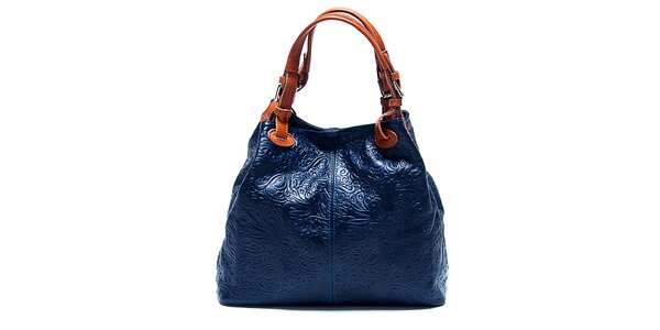 Dámska tmavo modrá kabelka so vzorom Renata Corsi