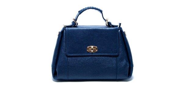 Dámska modrá kožená kabelka s odnímateľným popruhom Renata Corsi