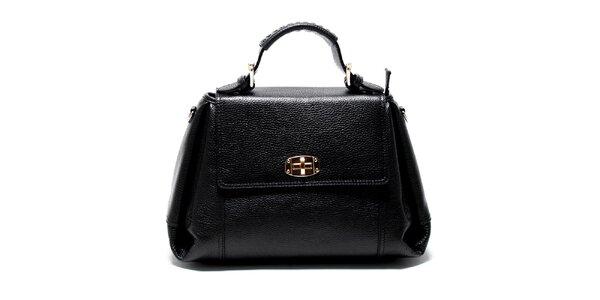 Dámska čierna kožená kabelka s odnímateľným popruhom Renata Corsi