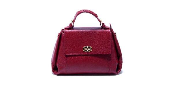 Dámska malinovo červená kožená kabelka s odnímateľným popruhom Renata Corsi