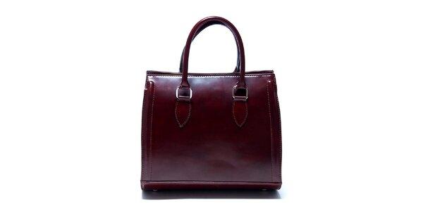 Dámska gaštanovo hnedá kabelka Renata Corsi so zaobleným dnom