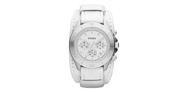 Pánske strieborné hodinky so širokým bielym remienkom Fossil