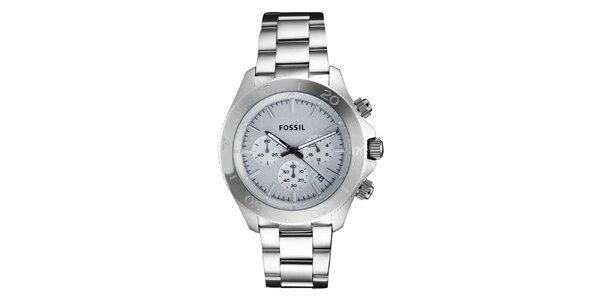 Pánske hodinky s chronografom v striebornej farbe Fossil