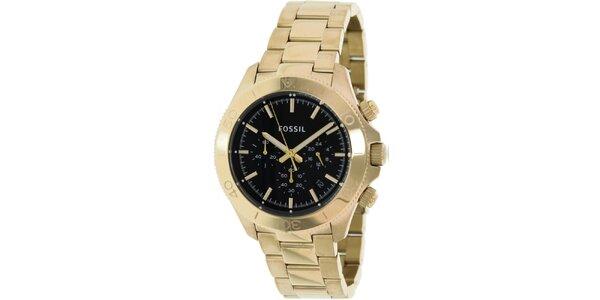 Pánske analogové hodinky s chronografom v zlatej farbe Fossil