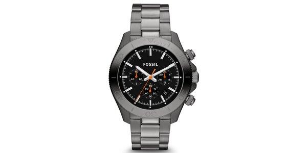 Pánske šedočierne analogové hodinky s chronografom Fossil