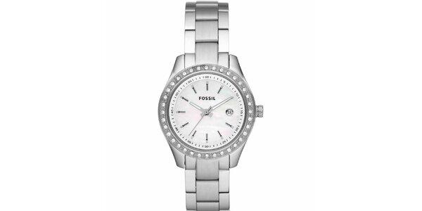 Dámske strieborné hodinky s kamienkami Fossil
