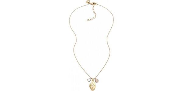 Dámsky náhrdelník v zlatej farbe s medailónkom Fossil