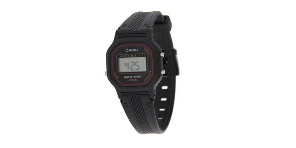 Dámske čierne digitálne hodinky Casio s vínovým lemom