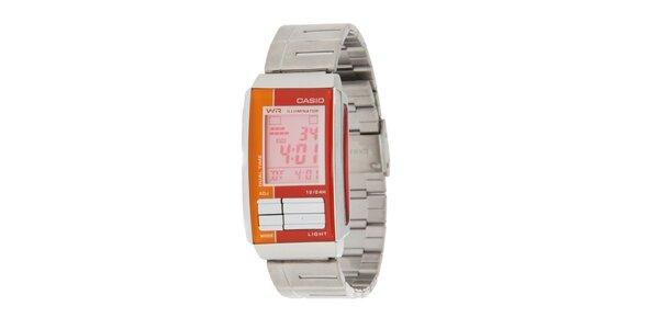 Dámske oceľové digitálne hodinky Casio s oranžovými detailami