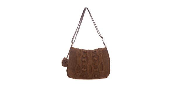 a1a1baf1a79e Dámska hnedá pletená kabelka s plastickým vzorom Tantra