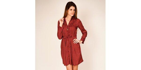 Dámske červené šaty s retro vzorom Tantra