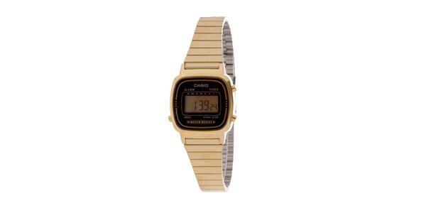 Dámske zlaté digitálne hodinky Casio