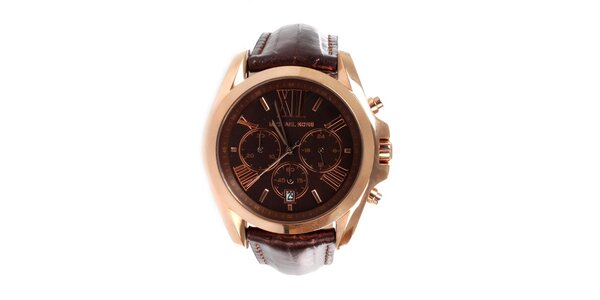 Dámske oceľové hodinky Michael Kors s hnedým koženým remienkom
