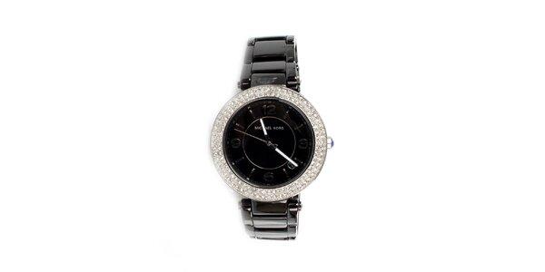 Dámske čierne keramické hodinky Michael Kors s kryštálikmi