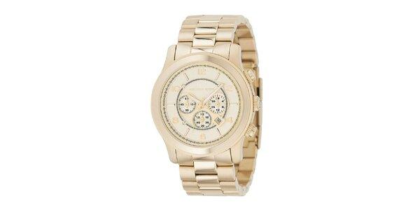 Pánske analogové hodinky s chronografom v zlatej farbe Michael Kors