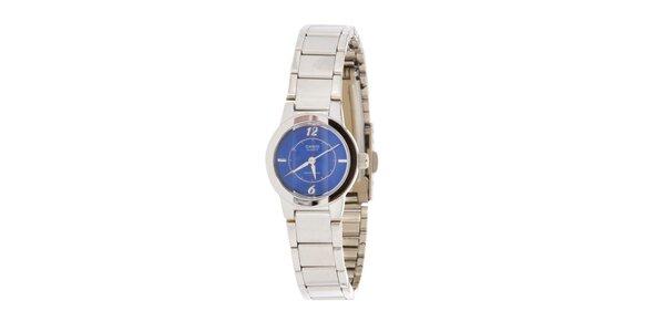 Dámske oceľové hodinky Casio s modrým ciferníkom