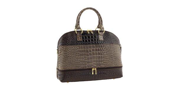 Dámska dvojfarebná kožená kabelka s odnímateľným popruhom Classe Regina