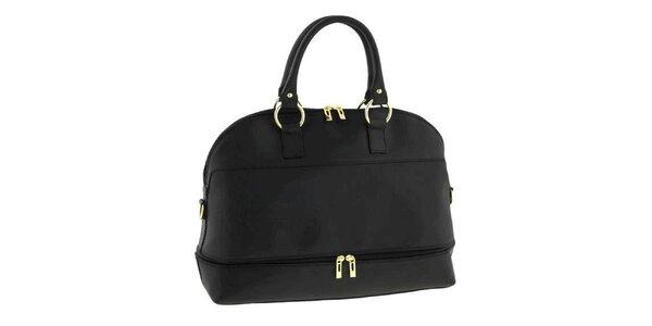 Dámska čierna kožená kabelka s odnímateľným popruhom Classe Regina