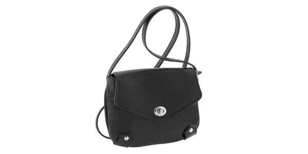 Dámska čierna kožená taška s otočným zámčekom Classe Regina