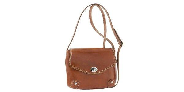 Dámska medovo hnedá kožená taška s otočným zámčekom Classe Regina