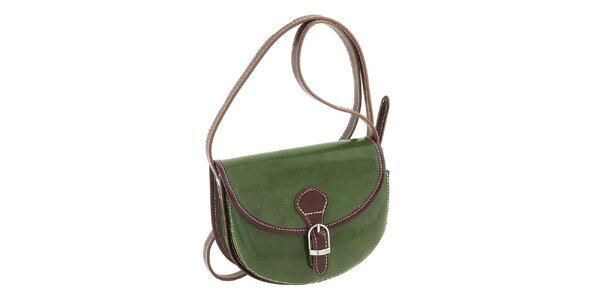 Dámska zelená kabelka s hnedými prvkami a prackou Classe Regina