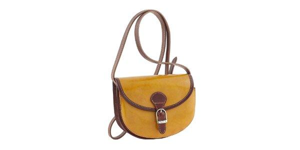 Dámska žltá kabelka s hnedými prvkami a prackou Classe Regina
