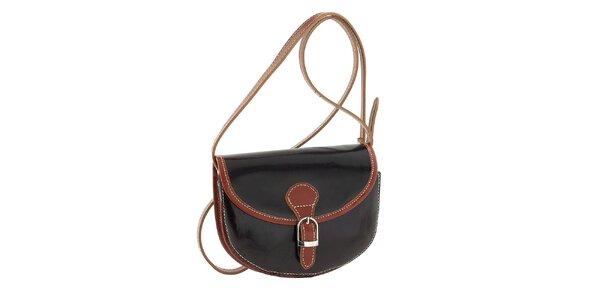 Dámska tmavo hnedá kabelka so svetlo hnedými prvkami a prackou Classe Regina