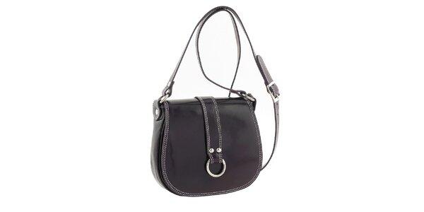 Dámska tmavo fialová kožená kabelka s klopou Classe Regina