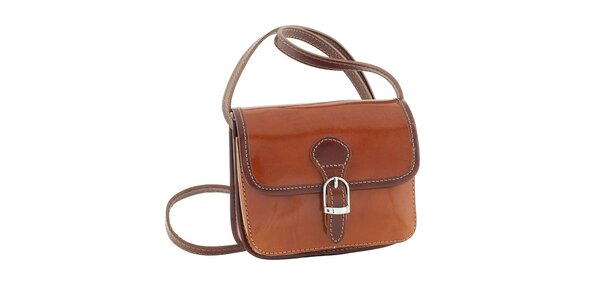 Dámska medovo hnedá kabelka s patentkovým zapínaním Classe Regina