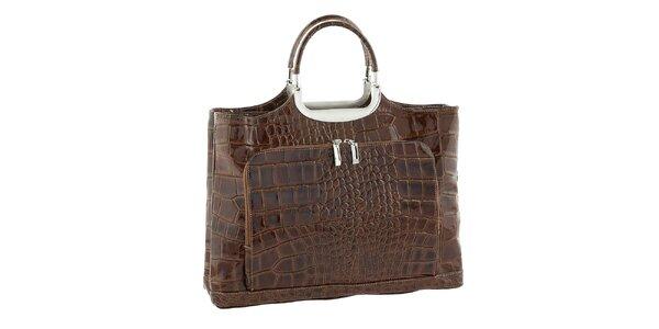 Dámska hnedá kožená kabelka so vzorom Classe Regina