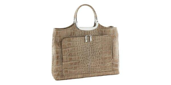Dámska béžová kožená kabelka so vzorom Classe Regina