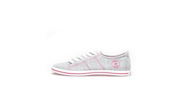 Dámske šedé tenisky s ružovým prešívaním Big Star