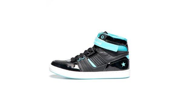 Dámske čierne členkové topánky s tyrkysovými detailmi Big Star