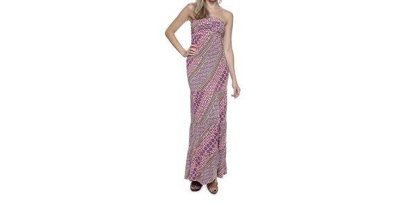Dámske pestrofarebné dlhé šaty bez ramienok Guess