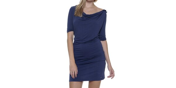 Dámske modré šaty s vykrojeným chrbátom Guess