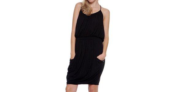 Dámske čierne naberané šaty Guess