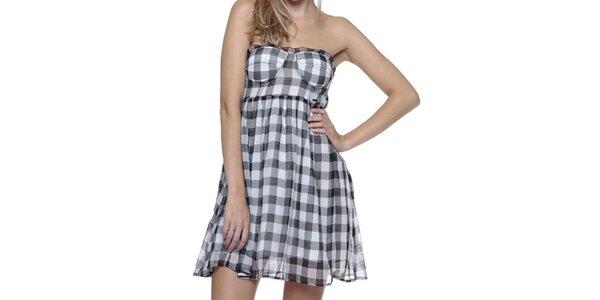 Dámske šedé kockované šaty Guess