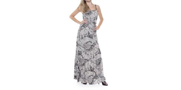 Dámske dlhé čiernobiele šaty so vzorom Guess
