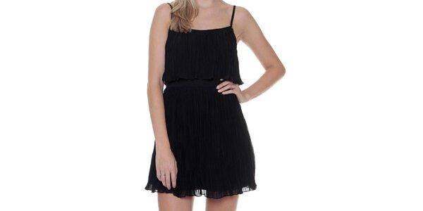 Dámske čierne plisované šaty na ramienka Guess