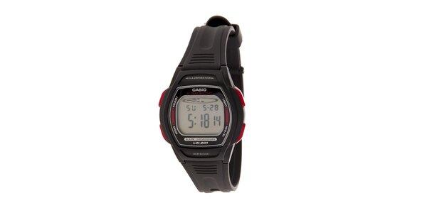 Dámske čierne digitálne hodinky Casio s čiernym pryžovým remienkom