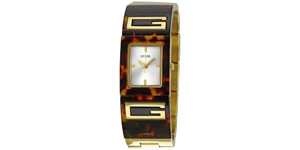 Dámske jantarovo hnedé analogové hodinky Guess