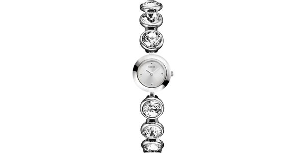 Dámske strieborno tónované hodinky s kryštáľmi Guess