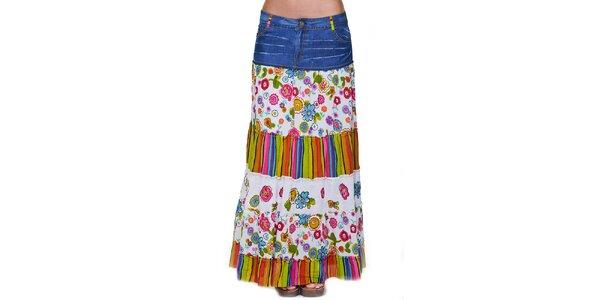 Dámska dlhá kvetovaná sukňa s džínsovým opaskom Peace&Love