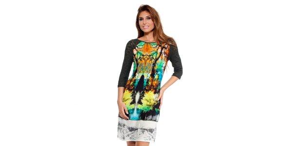 Dámske farebné šaty s digitálnou potlačou Peace&Love