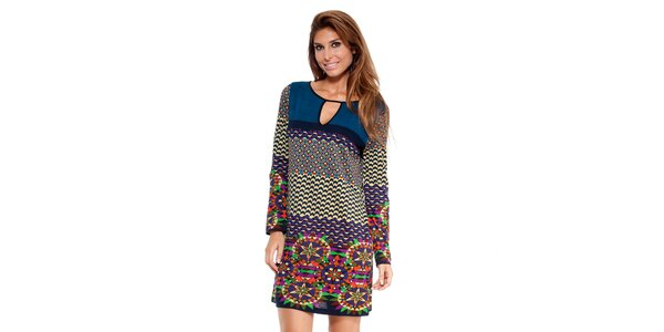 Dámske šaty s pestrofarebnými ornamentmi Peace&Love