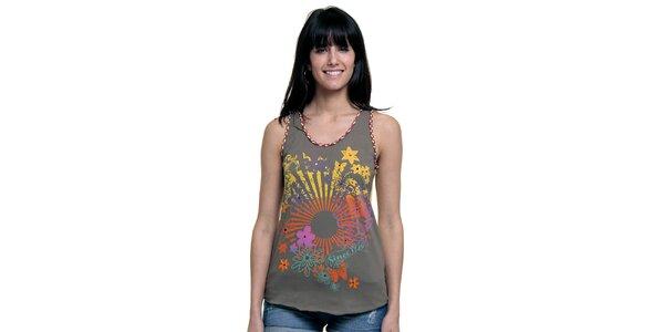 Dámske khaki tielko s kvetinovým motívom Peace&Love