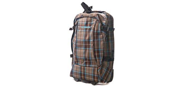 Hnedá kockovaná taška na kolieskach Fundango