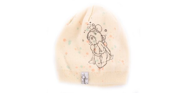 Dámska krémovo biela čiapka Fundango s potlačou