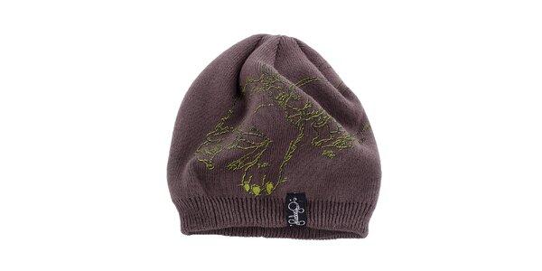 Dámska hnedo-šedá čiapka Fundango s potlačou
