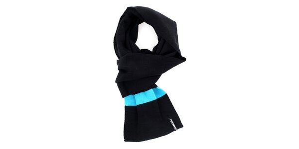 Pánsky čierny šál s modrými pruhmi Fundango